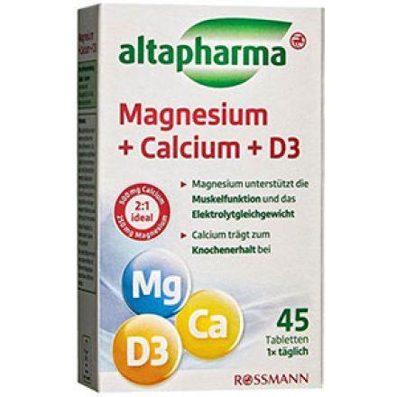 Image of  Преимущества Altapharma Магний + Кальций + D3  Клинически доказана эффективность Содержит рекомендуемую суточную дозу витаминов Простота применения - 1 таблетка ежедневно