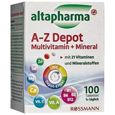 Image of Добавка A-Z DEPOT Altapharma мультивітаміни + мінерали Таблетки Altapharma AZ Depot Multivitamin + Mineral это прекрасно сбалансированная пищевая добавка с 21 витаминами и минералами, которые необходимы для полноценного функционирова