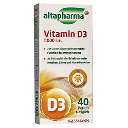 Image of Вітамін D3 1000 Altapharma 40 шт. Капсулы Altapharma Vitamin D3 1000 это мощная добавка к рациону, снабжает организм необходимым количеством витамина D3. Он является важнейшим компонентом во всех процессах организма - существенно уме