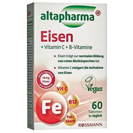 Image of Добавка Eisen вітамін С + вітамін B Altapharma 60 таблеток Таблетки Altapharma Eisen Vitamin C + B это прекрасно сбалансированная добавка в рацион, содержащая железо и витамины В-группы и С. Железо необходимо для качественного функци