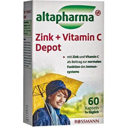 Image of Добавка Цинк+Вітамін С Altapharma Капсулы Altapharma Zink + Vitamin C Depot это прекрасно сбалансированная добавка в рацион, содержащаяцинк и витамин С. Они необходимы для качественного функционирования всего организма, но особенно