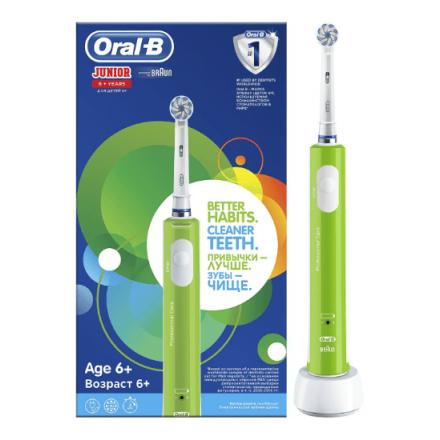 Image of Электрическая зубная щетка Junior от Oral-B (детская) - лучшего выбора стоматологов со всего мира - предназначена для детей от 6 лет. Эта веселая зеленая щеточка делает чистку зубов более привлекательной для ребенка и помогает закрепит